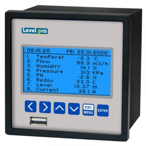 The 650 data logger + display + controller displays up to 8 measurements with 2 electronic relay outputs and up to 8 universal inputs.