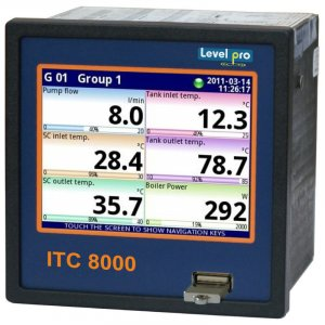 The 8000 data logger + display + controller displays up to 8 measurements with up to 72 universal inputs.