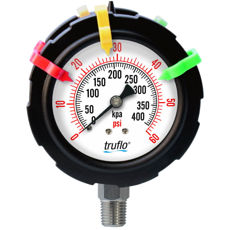 The OBS-DGO double sided plastic pressure gauge is all plastic and suitable for pulsing applications in corrosive environments.