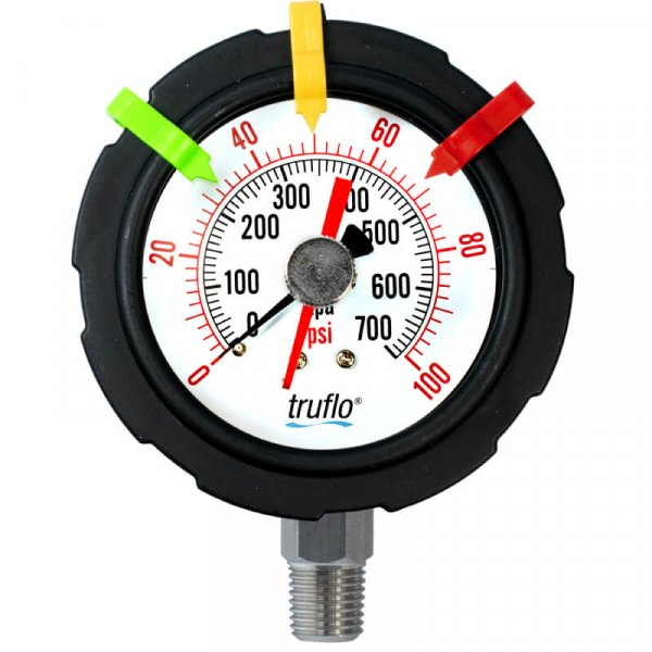 The OBS-TT plastic 'tell-tale' pressure gauge records pressure surges and notifies of pressure spikes. suitable for corrosive environments.