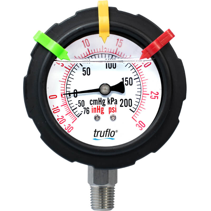 The OBS-V plastic compound vacuum gauge records pressure surges and spikes and is perfect for corrosive environments.