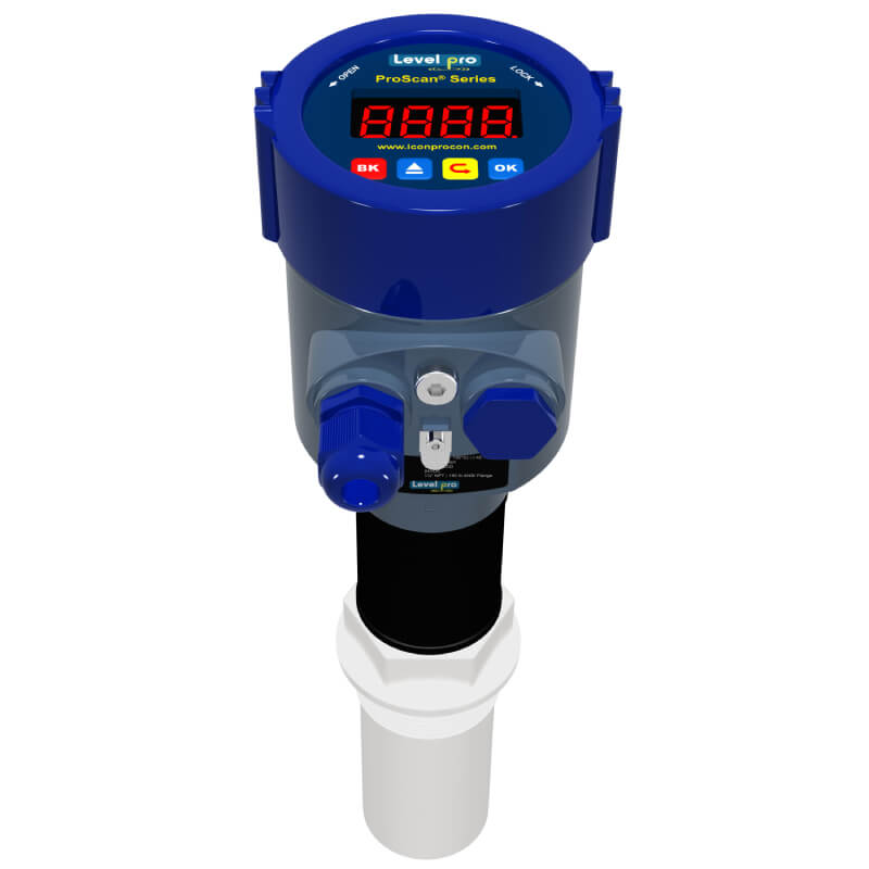 The ProScan radar level transmitter measures liquid level inside a tank or sump by using all plastic antenna. It is 4-20mA loop powered and has Teflon designs.