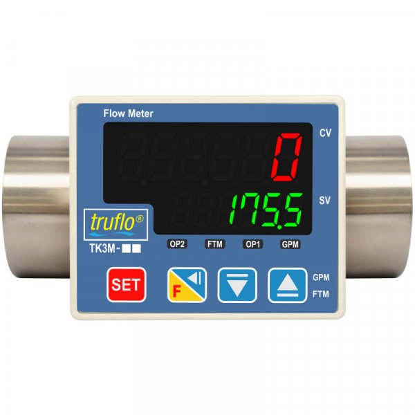 The TK3M in-line paddle wheel flow meter is made from 316 SS that provides rate and total with pulse and 4-20mA outputs available.