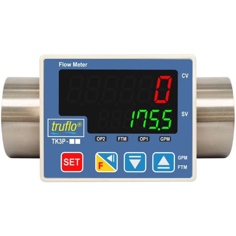 The TK3P in-line paddle wheel flow meter is made from 316 SS that provides flow rate and total with pulse and RS485 outputs available.