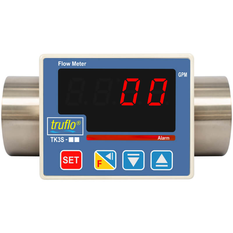The TK3S in-line paddle wheel flow meter is made from 316 SS with pulse and relay outputs.