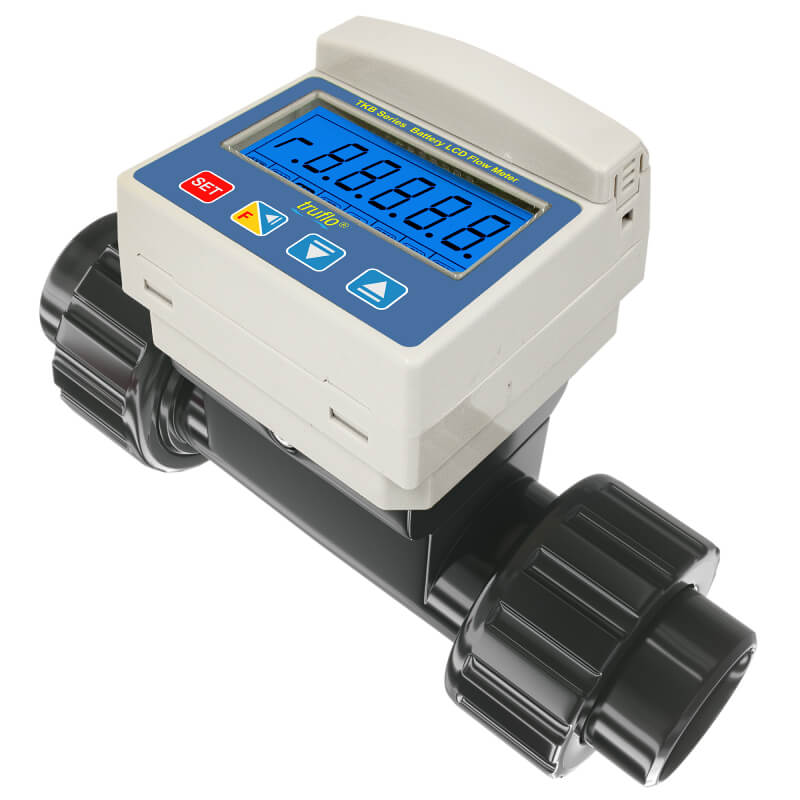 The TKB in-line paddle wheel flow meter is battery operated and provides flow rate and flow total. LCD Display