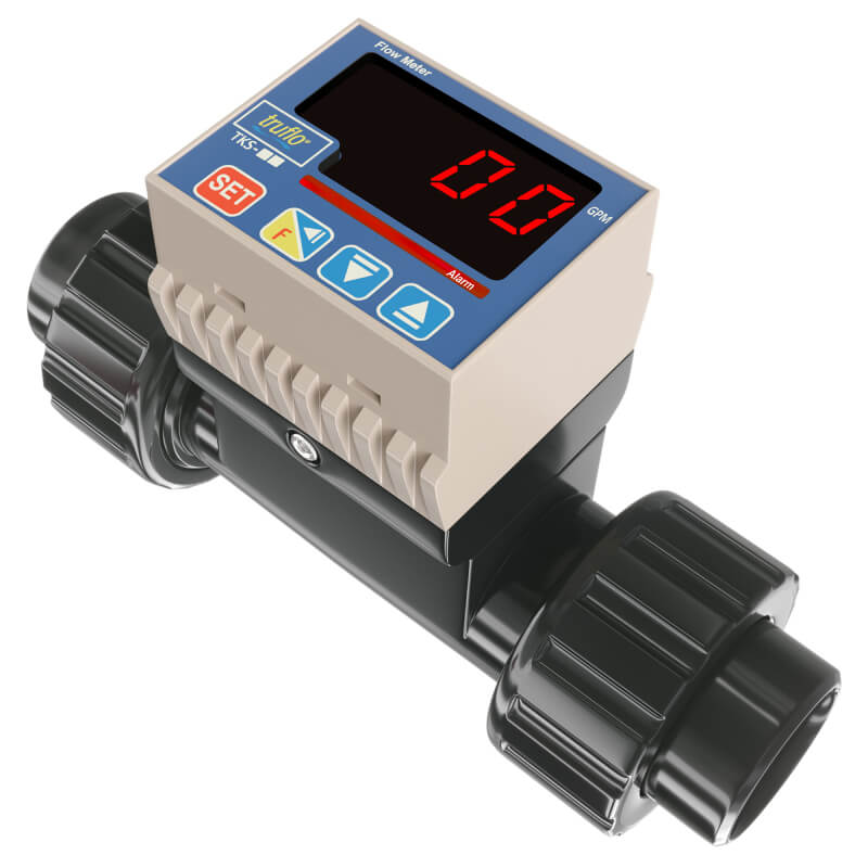 The TKS in-line paddle wheel flow meter provides flow rate with pulse and relay outputs available. LED Display