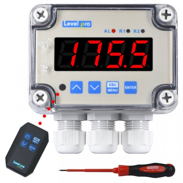 The TVL liquid level LED display is an all in one controller with 4-20mA or voltage input and one relay + 4-20mA output or two realy outputs.