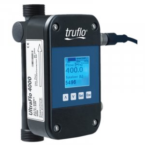 The UltraFlo 4000 ultrasonic flow meter provides flow rate and total with 4-20mA, RS485 and pulse relay outputs available.