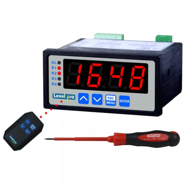 The 450 industrial level controller has a large LED display with 4-20mA input.