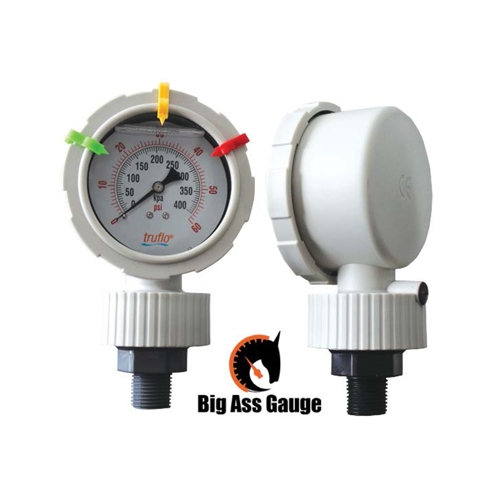 The OBS-BAG all plastic gauge with integral gauge guard reduces pressure surges and metering pump pulsation and has an extra large 3 inch face.
