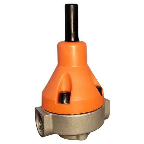 The BRP3 back pressure relief valve is made from 316 SS and has a Teflon bonded EPDM diaphragm and NPT connections.