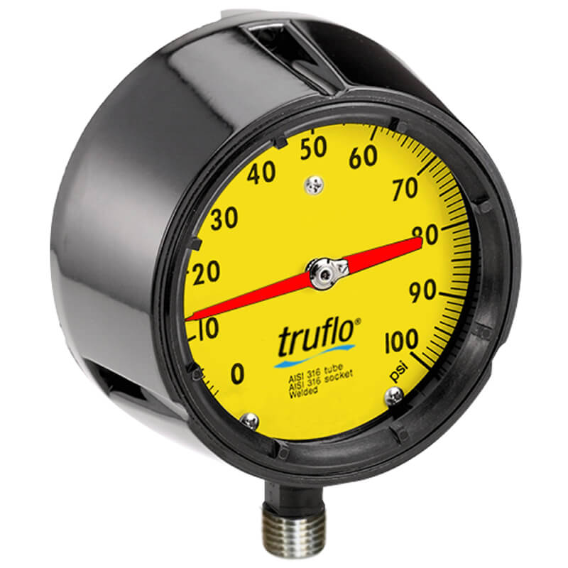 The OBS-GO4 plastic pressure gauge has a 4 and a half inch dial size and is perfect for corrosive environments.