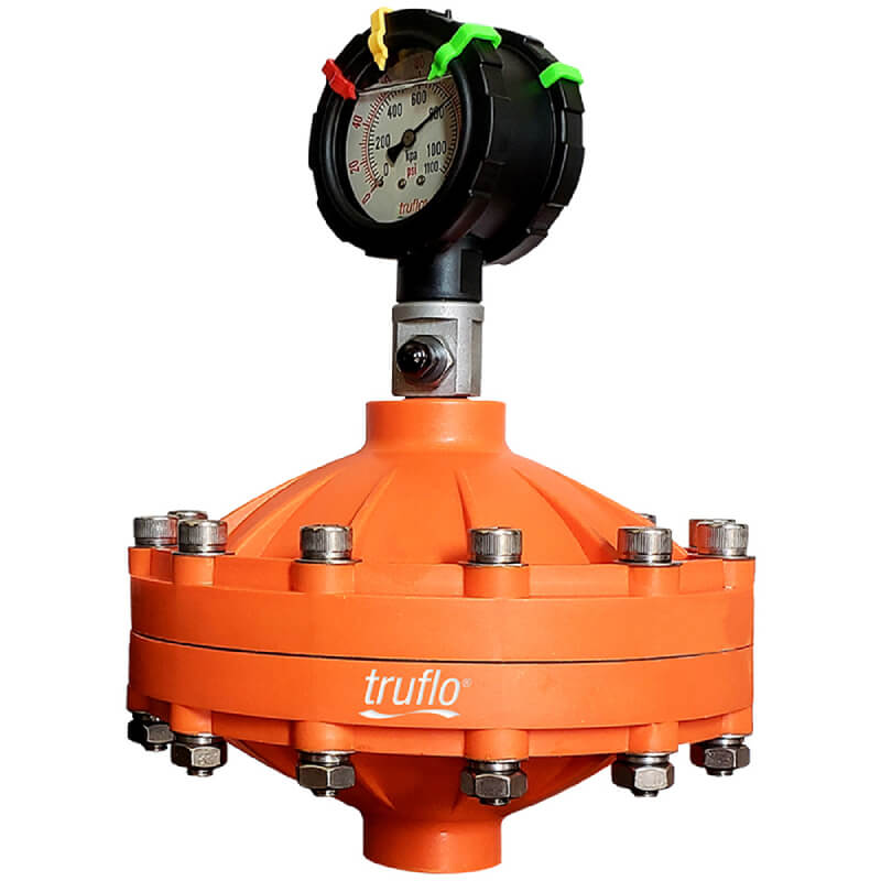 The PulsePro PF pulsation dampener reduces pulsations by 95% using materials like glass filled PP, PVDF, 316 SS with PTFE diaphragm.