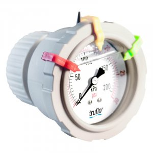 The OBS-B all plastic gauge with integral gauge guard is a center mount pressure gauge and completey corrosion resistant.