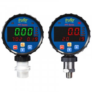 The PPT pressure transmitter & switch displays pressure in 4 different units with 5amp relay alarm functions available in PP, PVDF, 316L.