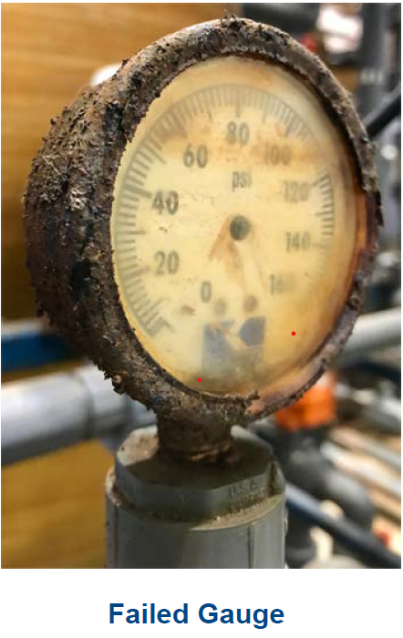 Failed pressure gauge in a corrosive application